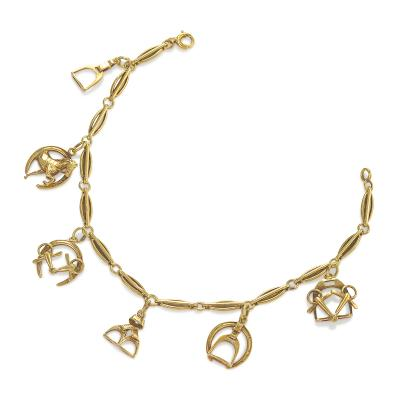 Sloan Company Antique Gold Bracelet with Equestrian Charms