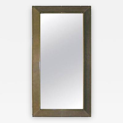 Smania 1970s Italian Suede Floor Mirror with Bronze Accents
