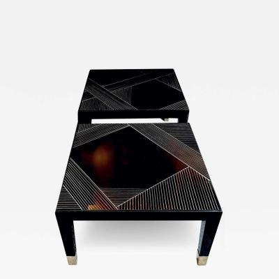 Smania Pair of Black Square Coffee Tables with Engraved Opaline Glass Top