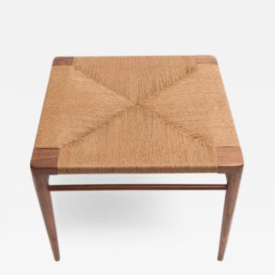 Smilow Furniture Hand Woven Rush and Walnut Ottoman by Smilow Furniture