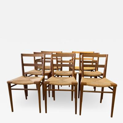 Smilow Furniture Set of 8 Smilow Design Walnut and Rush Dining Chairs