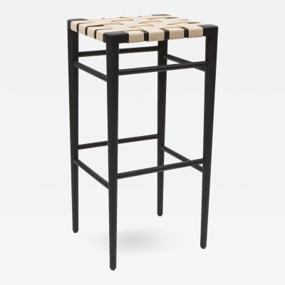 Smilow Furniture Smilow Furniture Ebonized Walnut Bar Stool with Leather Webbed Seat