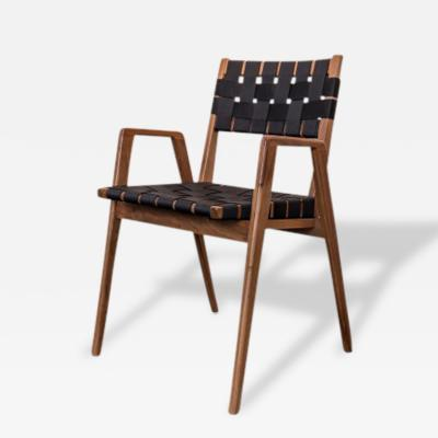 Smilow Furniture Smilow Furniture Leather Strapped Dining Chairs with Solid Walnut Frames