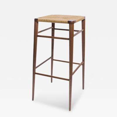 Smilow Furniture Solid Walnut Bar Stool with Rush Seat by Smilow Design
