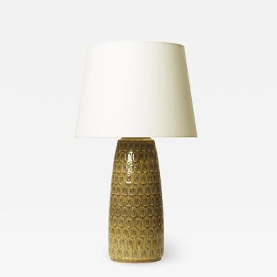 Soholm Pottery Table lamp with intaglio relief and ochre lustre glaze by Soholm