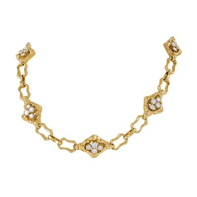 Soubrenie et Bois Paris Textured Gold Link Chain with Diamond Panels