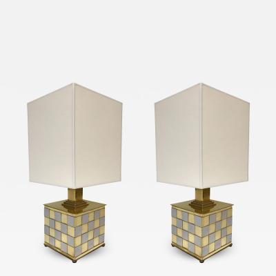 Spadafora Pair of Brass and Chrome Lamps by Spadafora Italy 1970s