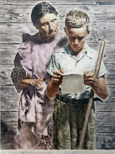 Spencer Douglass Crockwell Grand Mother and Grand Son Read Emotional Letter Norman Rockwell style