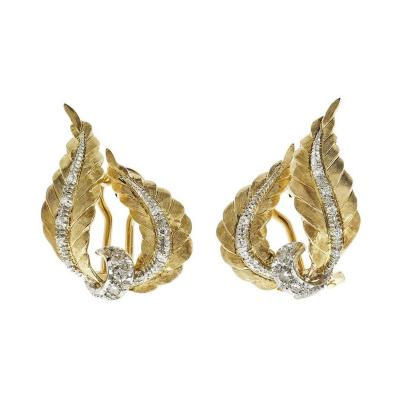 Spitzer Furman Spitzer Furman Diamond Gold Swirl Ribbon Spray Earrings