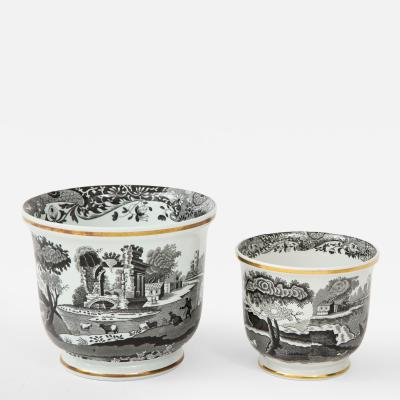 Spode Pair of Spode Black and White Cachepots