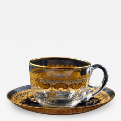 St Louis Crystal 1903 St Louis Demi Cup Saucer in Cleo Pattern
