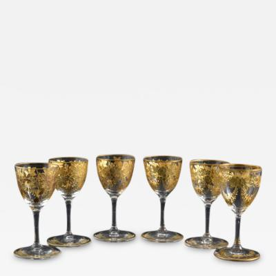 St Louis Crystal 1908 Antique French Saint Louis Crystal Gilded Liquor Cordial Glasses