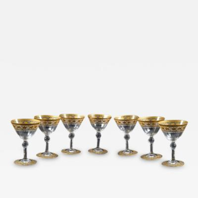 St Louis Crystal 1913 Saint Louis Crystal Thistle 7 Footed Cordial Glasses Gold Incrusted