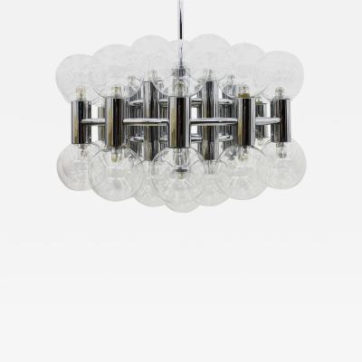Staff Leuchten Large Chrome and Glass Chandelier by Motoko Ishii for Staff 1971