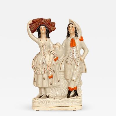 Staffordshire Circa 1880 Staffordshire Figure of a Man and Woman England