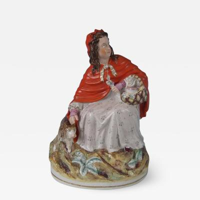 Staffordshire Large Staffordshire Red Riding Hood and Wolf Figure