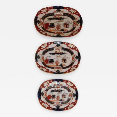 Staffordshire Set of Three Masons Graduated Platters