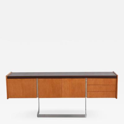 Ste Marie Laurent OAK AND CHROME CREDENZA BY STE MARIE AND LAURENT