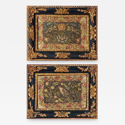Stephen Carol Huber Rare Pair of Ca 1660 English Needlework Pictures