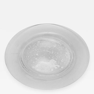 Steuben Glass Engraved Leo Constellation Plate by Don Wier for Steuben Glass