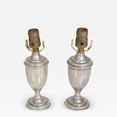 Stiffel Lamp Company Miniature Regency Silver Petite Pair Urn Table Lamps Hollywood Glamour 1960s