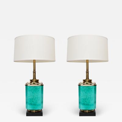 Stiffel Lamp Company Pair Edwin Cole for Stiffel Aqua Ceramic Brass Table Lamps with Glass Shades