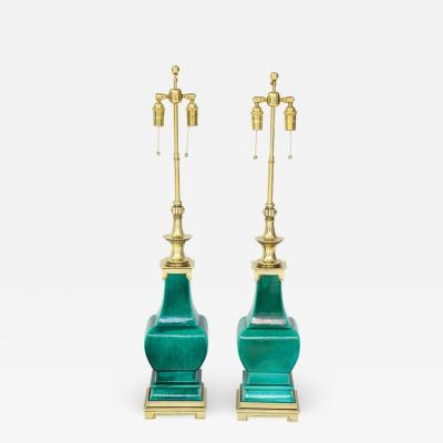 Stiffel Lamp Company Pair of Jade Green Ceramic lamps by Stiffel