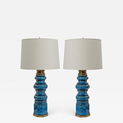 Stiffel Lamp Company Pair of Tall Vintage Stiffel Ceramic Lamps