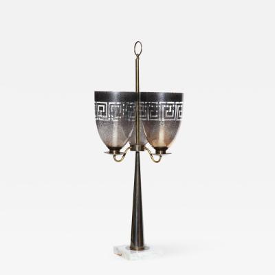 Stiffel Lamp Company Parzinger Style Stiffel Candlestick Table Lamp w Triple Hurricane Shades 1950s