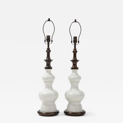 Stiffel Lamp Company Stiffel Bronze Crackled Porcelain Lamps