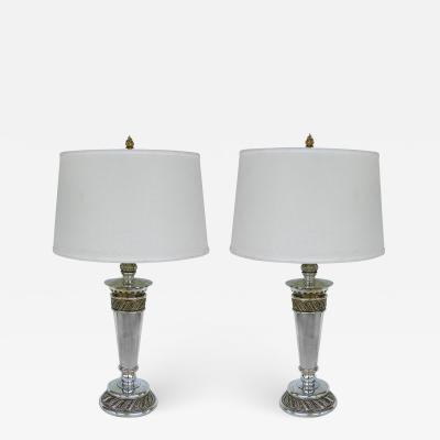 Stiffel Lamp Company Stiffel Silvered Copper Torch Form Table Lamps