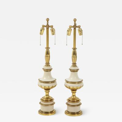 Stiffel Lamp Company Taupe Enamel Brass Hollywood Regency Lamps