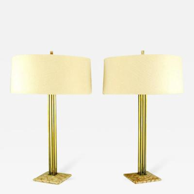 Stiffel Pair of Circa 1950s Stiffel Rouge Marble and Square Brass Columns Table Lamps