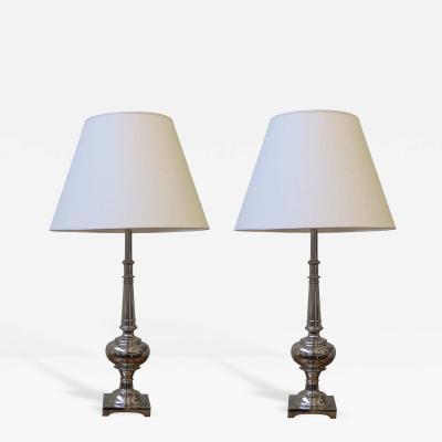 Stiffel Pair of Nickel Plated lamps by Stiffel