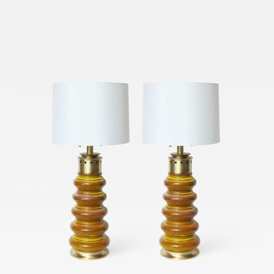 Stiffel Stiffel Ochre Glazed Ceramic Lamps