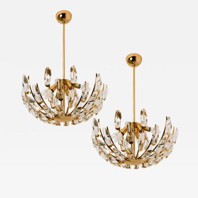 Stilkronen Pair of Stilkronen Crystal and Gilded Brass Italian Light Fixtures