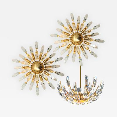 Stilkronen Set of Stilkronen Crystal and Gilded Brass Italian Light Fixtures Stilkronen