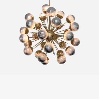 Stilnovo 1 of 2 Exceptional Huge Sputnik Murano Glass and Brass Chandelier
