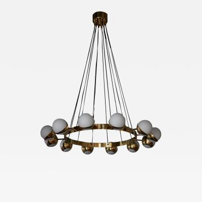 Stilnovo 1 of 2 Huge Stilnovo Style Brass and Murano Glass Chandelier