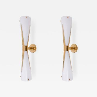 Stilnovo 1 of 4 Murano Glass and Brass Sconce or Wall Lamps Attributed to Stilnovo