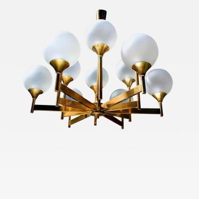 Stilnovo 12 Glass Globes Brass Chandelier 1960s 1970s