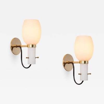 Stilnovo 1950s Italian Brass and Glass Sconces Attributed to Stilnovo