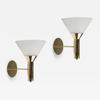 Stilnovo 1950s Italian Glass and Brass Cone Sconces
