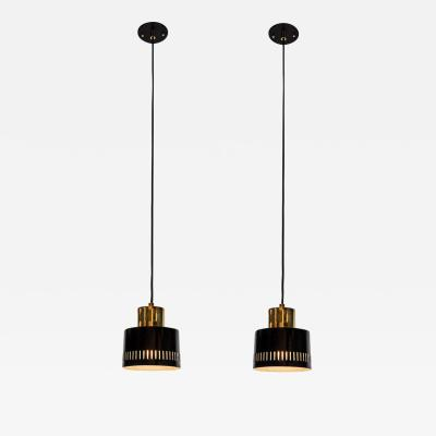 Stilnovo 1950s Italian Pendants in Black and Brass Attributed to Stilnovo