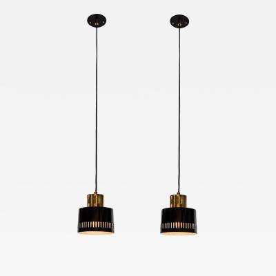 Stilnovo 1950s Italian Pendants in Black and Brass Attributed to Stilnovo