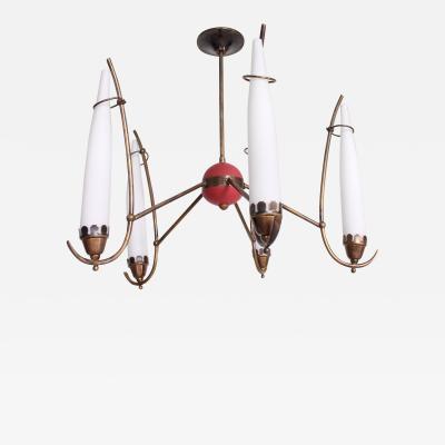 Stilnovo 1950s Stilnovo Italian Brass Chandelier Five Arm Tapered Glass with Pop of Red