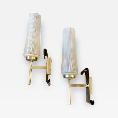 Stilnovo 1950s Stilnovo Style Mid Century Modern Set of Two Brass and Glass Wall Sconces