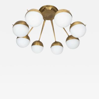 Stilnovo 1960s Italian Eight Arm Brass and Glass Chandelier Attributed to Stilnovo