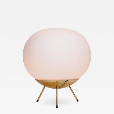 Stilnovo 1960s Large Glass Brass Tripod Floor or Table Lamp Attributed to Stilnovo