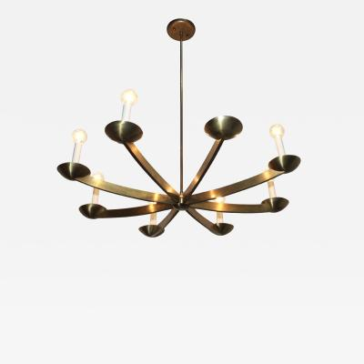 Stilnovo 1960s Modernist Italian 8 Arm Brass Chandelier